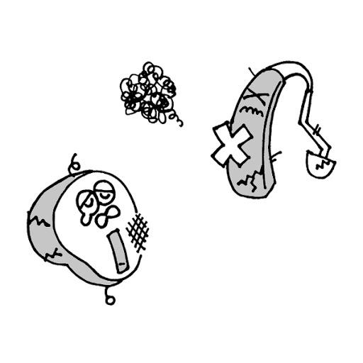 故障した補聴器たち