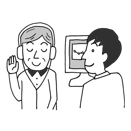 聴力検査中