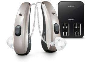 充電式補聴器の例:Pure Charge&Go (シグニア補聴器) の画像
