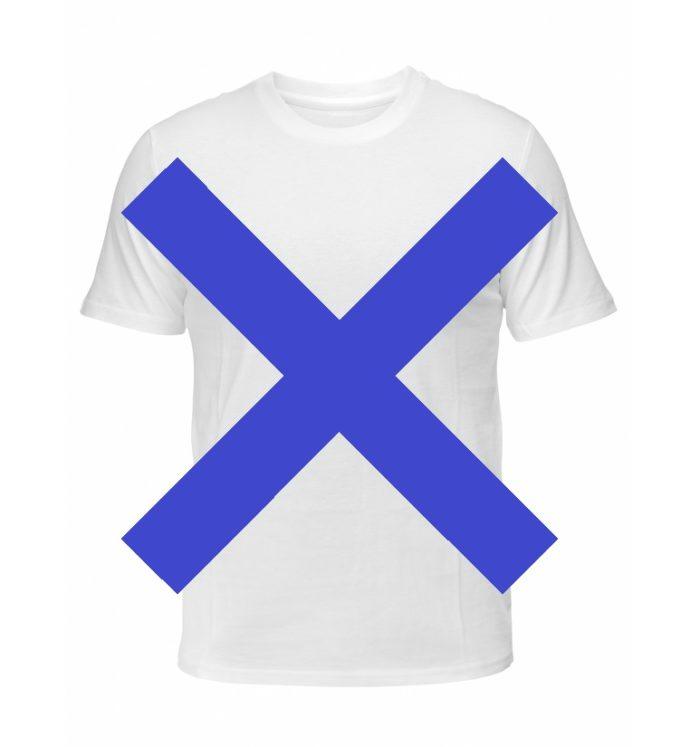 Tシャツの上に✖の画像