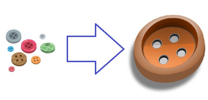 小さなボタンと大きなボタン
