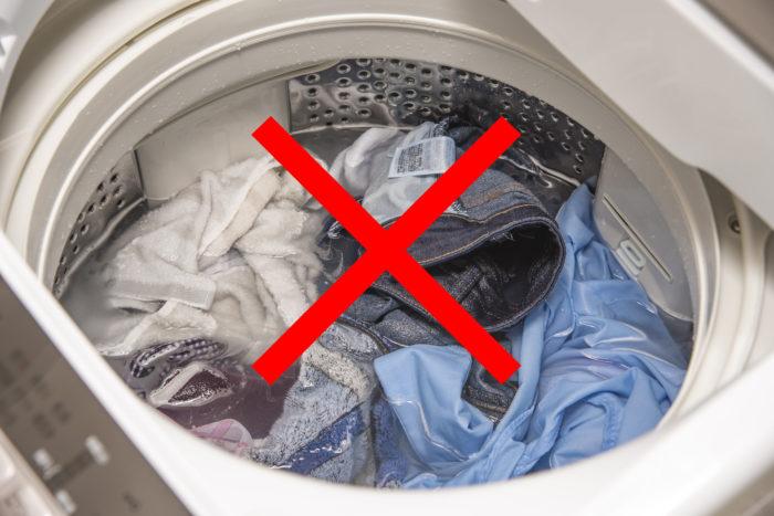 洗濯機の中の洗い物の画像