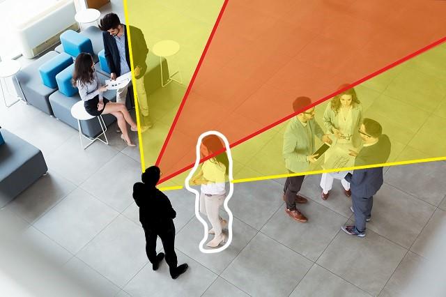 ビーム指向性で、聞こえる角度がわかりやすい画像
