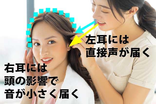 左耳が突発性難聴の場合、右耳だけで聞くので声・音が小さくなり聞こえにくい。