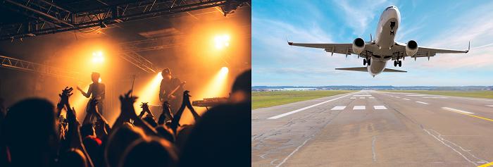 ライブ会場と飛行機の離陸する様子